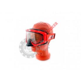 Очки кроссовые с двойным стеклом ATAKI HB-811 красные глянцевые с прозрачной линзой