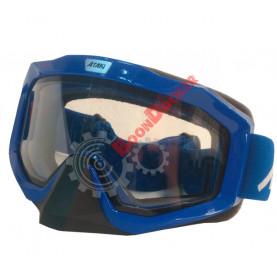 Очки кроссовые с двойным стеклом ATAKI HB-811 синие  глянцевые с прозрачной линзой