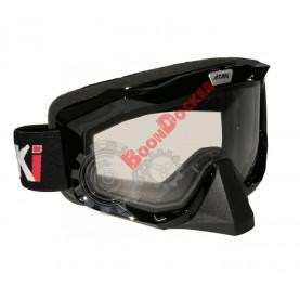Очки кроссовые с двойным стеклом ATAKI HB-811 черные глянцевые с прозрачной линзой