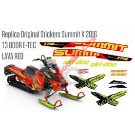 Реплика оригинальных наклеек SKI-DOO Summit X T3 800R E-TEC 2016 Lava Red